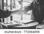 businessman handshaking process ...   Shutterstock . vector #772066858