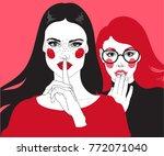 vector two girls  brunette... | Shutterstock .eps vector #772071040