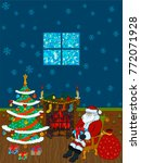 santa claus sits near fireplace.... | Shutterstock .eps vector #772071928