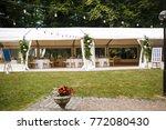 long white tent for wedding... | Shutterstock . vector #772080430