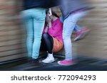 teenage girls bullying and...   Shutterstock . vector #772094293