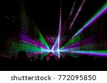 colorful laser show nightlife... | Shutterstock . vector #772095850