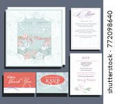 set of wedding cards with roses.... | Shutterstock .eps vector #772098640