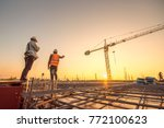 construction engineers... | Shutterstock . vector #772100623