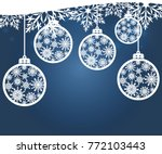 hanging christmas balls with a... | Shutterstock .eps vector #772103443