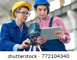 group of pretty surveyors... | Shutterstock . vector #772104340
