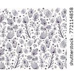 seamless vector border floral... | Shutterstock .eps vector #772114858