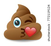 pile of poo kiss emoji icon... | Shutterstock .eps vector #772119124