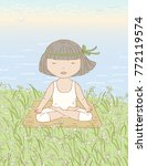 little girl doing yoga on a...   Shutterstock .eps vector #772119574
