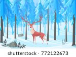 vector deer in the forest | Shutterstock .eps vector #772122673