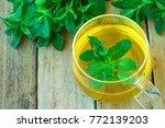 freshly brewd herbal mint tea... | Shutterstock . vector #772139203