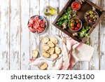 ingredients for making tapas or ... | Shutterstock . vector #772143100
