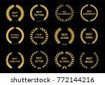 set of gold silhouette film... | Shutterstock .eps vector #772144216