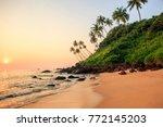 beautiful beach at sunset. cola ... | Shutterstock . vector #772145203