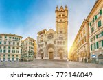 cathedral of genoa on sunrise   ... | Shutterstock . vector #772146049