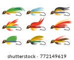 set icon of fly fishing lures... | Shutterstock .eps vector #772149619