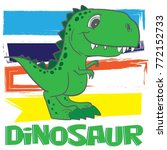 cute dino print for t shirts ... | Shutterstock .eps vector #772152733