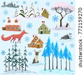 set of winter homes trees... | Shutterstock .eps vector #772159270