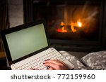 girl using laptop by the...   Shutterstock . vector #772159960