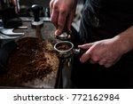 close up of hands pressing... | Shutterstock . vector #772162984