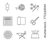 tailoring linear icons set.... | Shutterstock .eps vector #772163044