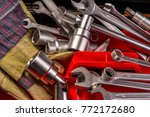 tools kit and protective gloves  | Shutterstock . vector #772172680