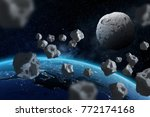 asteroids flying close to the...   Shutterstock . vector #772174168