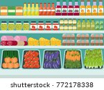 store shelves with groceries ... | Shutterstock .eps vector #772178338
