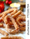 traditional churros with... | Shutterstock . vector #772181704