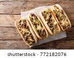delicious cheesesteak... | Shutterstock . vector #772182076