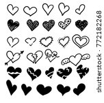 hand drawn hearts set isolated. ... | Shutterstock .eps vector #772182268
