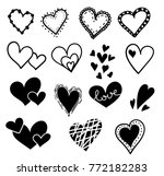 hand drawn hearts set isolated. ... | Shutterstock .eps vector #772182283