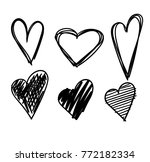 hand drawn hearts set isolated. ... | Shutterstock .eps vector #772182334
