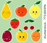 cute cartoon fruit symbols set... | Shutterstock .eps vector #772183396