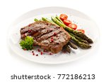 Grilled Steak With Asparagus O...