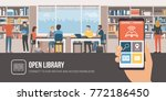 group of people studying... | Shutterstock .eps vector #772186450