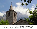 church spire and roof of an old ... | Shutterstock . vector #772187863