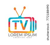 letter tv logo design. tv media ... | Shutterstock .eps vector #772188490