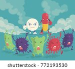 bacterias run away two medicine ... | Shutterstock .eps vector #772193530
