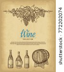 hand drawn wine background. old ... | Shutterstock .eps vector #772202074