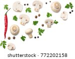 mushrooms with parsley isolated ... | Shutterstock . vector #772202158