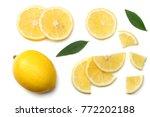 healthy food. sliced lemon with ... | Shutterstock . vector #772202188