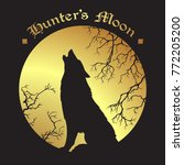 silhouette of wolf howling at... | Shutterstock .eps vector #772205200
