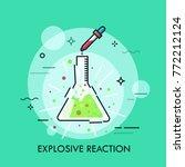 broken glass flask with green... | Shutterstock .eps vector #772212124