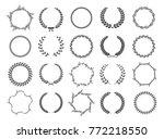 set of black and white... | Shutterstock .eps vector #772218550