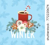 christmas greeting card  winter ... | Shutterstock .eps vector #772220674