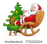 happy santa claus on the white... | Shutterstock .eps vector #772223224