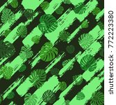 monstera leaves pattern.... | Shutterstock .eps vector #772223380