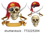 skull and sabers. pirate emblem....   Shutterstock .eps vector #772225204