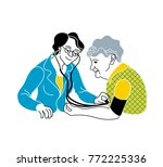 caring for the elderly... | Shutterstock .eps vector #772225336